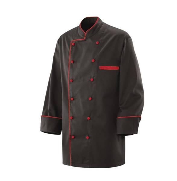 Schwarze Kochjacke mit roter Paspelierung