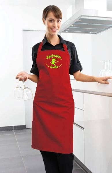 Rote Motivschürze Küchenfee mit Name bedruckt