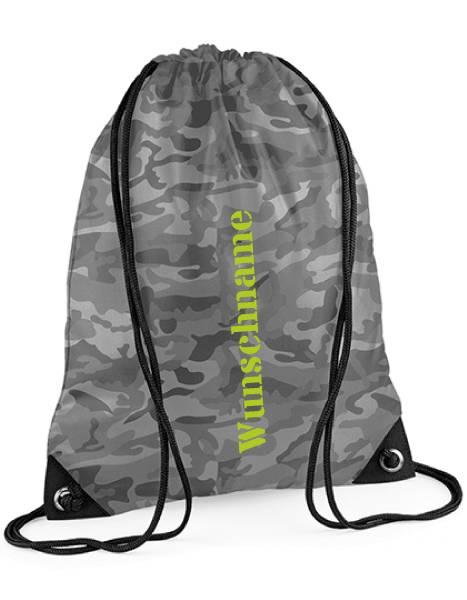 Camouflage Gymsac, Turnbeutel für Schule mit Name bedruckt