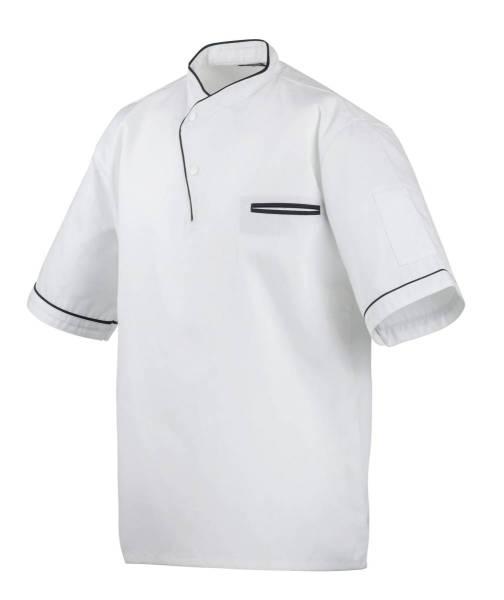 Weißes Kochhemd mit schwarzer Paspelierung, Kochhemd halbarm ex217