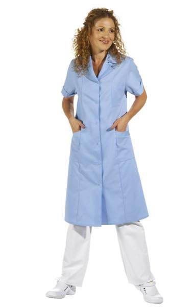 Langer Arbeitskittel Damen hellblau 1/2 Arm Leiber 490