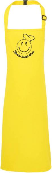 Gelbe Kinderschürze mit Name Heute Kocht Smiley