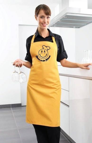 gelbe heute kocht Motivschürze mit Namen