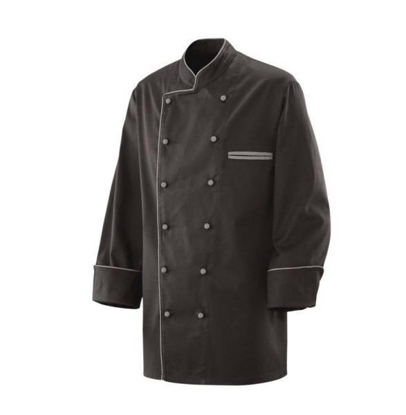 Schwarze Kochjacke mit grauer Paspelierung