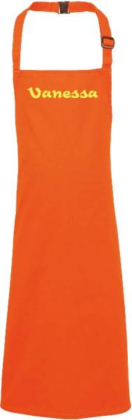 Orange Kinderschürze mit Name bedruckt