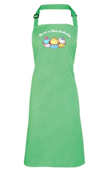 Apfelgrüne Motivschürze Cupcake mit Name CB2N