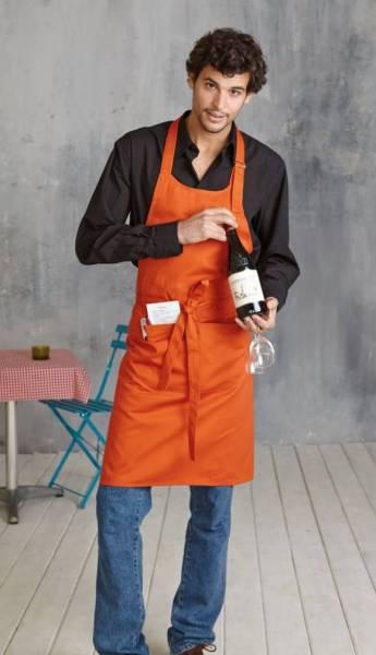 Orange Baumwollschürze mit Taschen Kariban