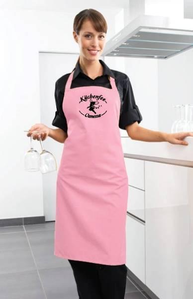 Rosa Motivschürze Küchenfee mit Name bedruckt