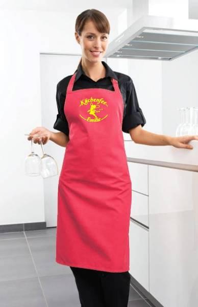 Fuchsia Motivschürze Küchenfee mit Name bedruckt
