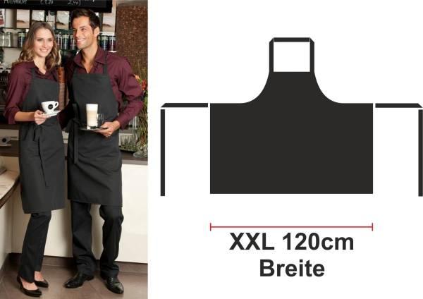 Schwarze XXL Latzschürze 95° C waschbar 120cm Breit VeronaX