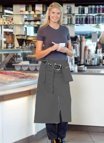 Graue Bistroschürze mit Schlitz Milano CG Workwear