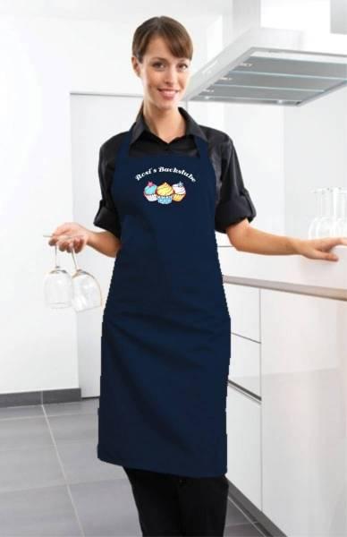 Dunkelblaue Motivschürze Cupcake mit Name CB2N Navy