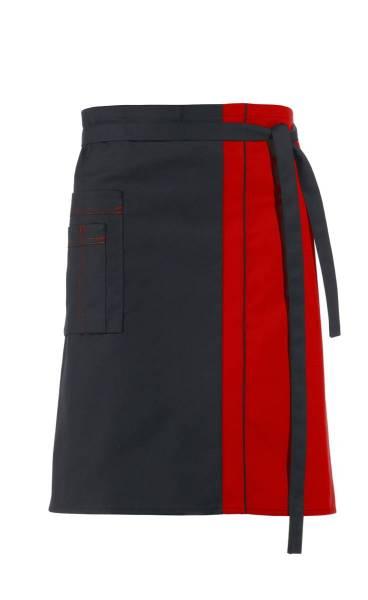 Schwarzer Vorbinder Kontrastfarbe Rot