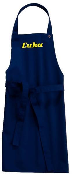 dunkelblaue Kinderschürze mit Name 78x50cm freitex