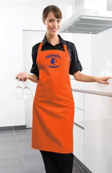 Orange Motivschürze Küchenfee mit Name bedruckt