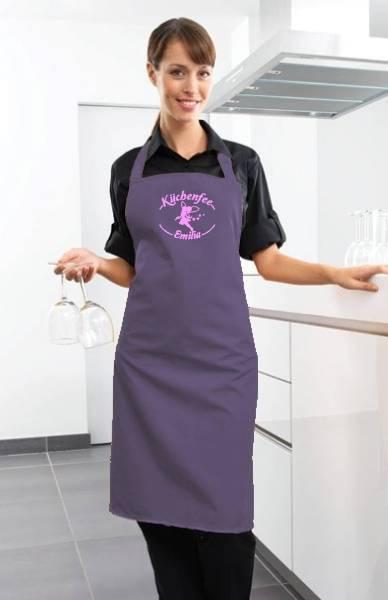 Lila Motivschürze Küchenfee mit Name bedruckt