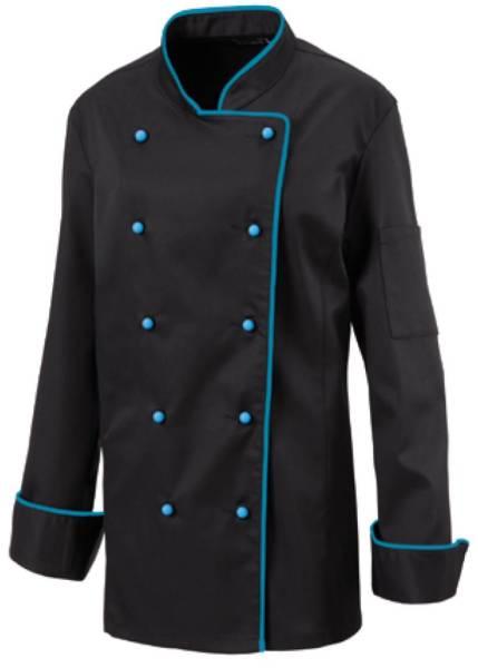 Schwarze Damenkochjacke mit türkisblauer Paspel Exner 219