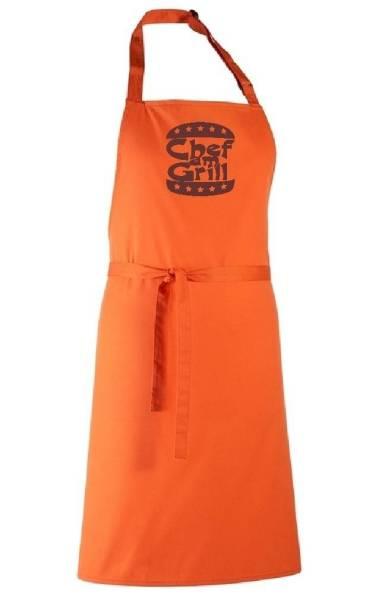 Orange Schürze Chef am Grill