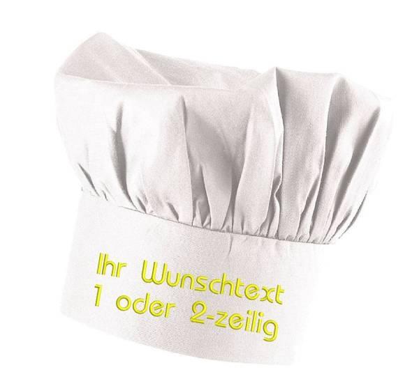 Weisse Kochmütze bestickt mit Name / Text