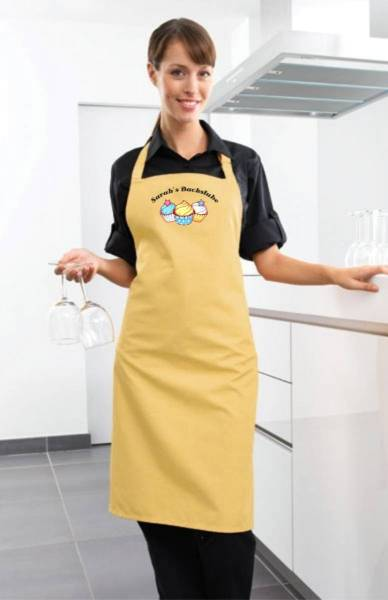 Lemongelbe Motivschürze Cupcake mit Name CB2N