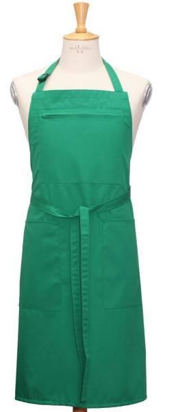 Grüne Latzschürze mit Reißverschlußtasche + 2 offene Seitentaschen