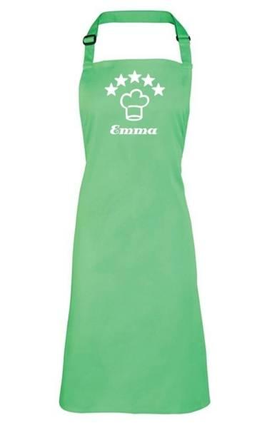 apfelgrüne Motivschürze 5 Sterne deluxe bedruckt mit Kochmütze und Name