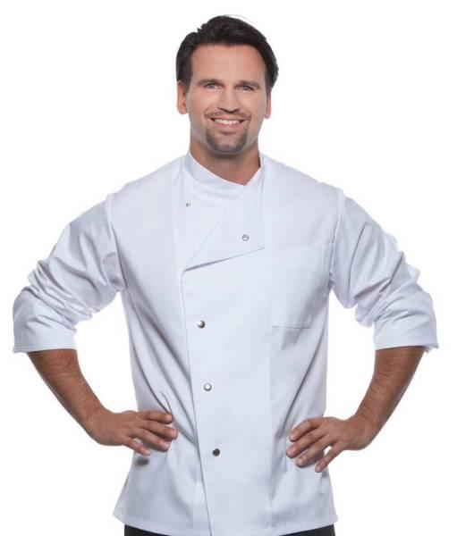 weisse Kochjacke mit Druckknöpfen Lars