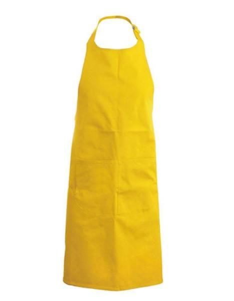 Gelbe Baumwollschürze mit Taschen Kariban