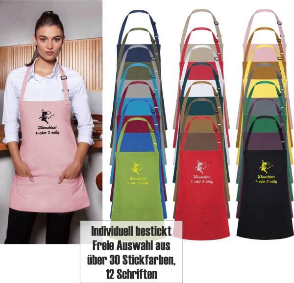 Kurze Schürze mit Name bestickt Küchenfee/Backfee BLS6