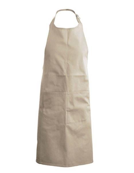 Beige Baumwollschürze mit Taschen Kariban