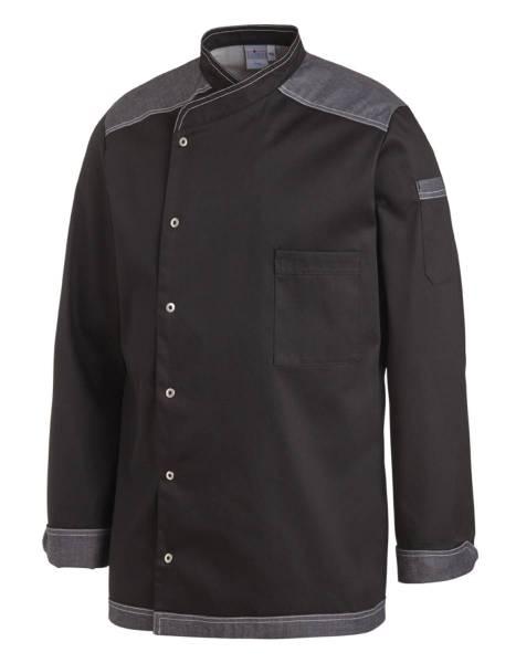 Schwarze Kochjacke mit Jeansbesatz grau Leiber 12/2596