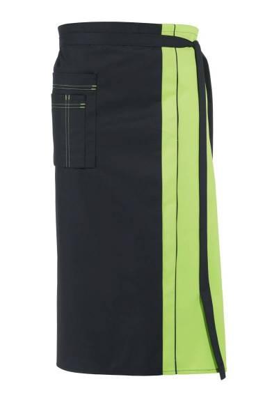 Schwarze Bistroschürze Kontrastfarbe hellgrün