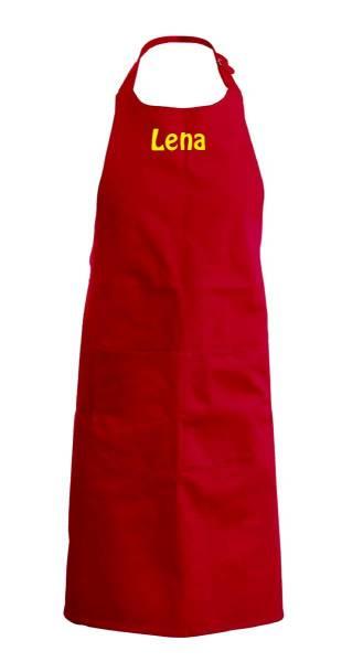 Rote Kinderschürze mit Name 64x47cm freitex