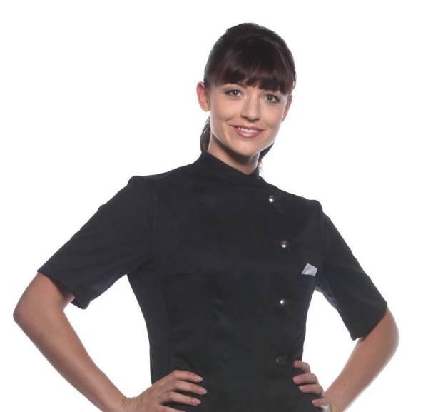 schwarze Damenkochjacke Kurzarm Greta