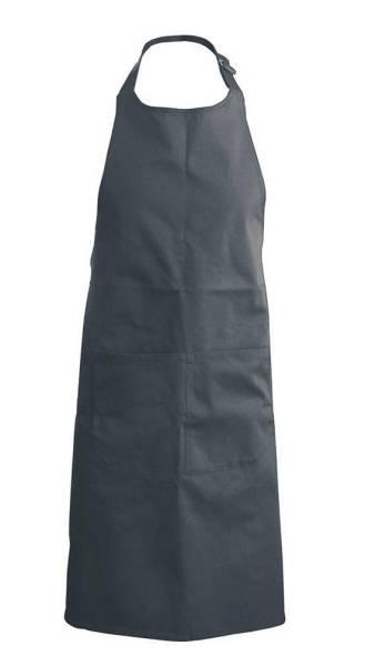 Dunkelgraue Baumwollschürze mit Taschen Kariban K889