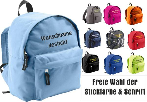 Kinderrucksack mit Name bestickt Kindergarten-Rucksack