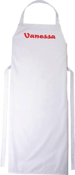 Weiße Kinderschürze mit Name 78x50cm freitex